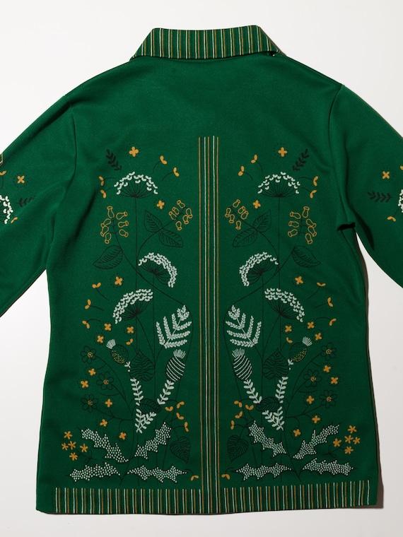 1970s green button up shirt, 1970s floral shirt, … - image 4