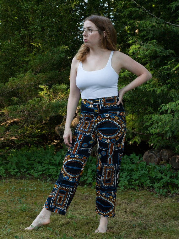 1960s abstract blue print pants, 70s vintage crop… - image 2
