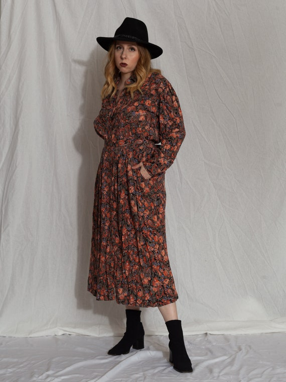 floral two piece set,vintage skirt set, 90s match… - image 5