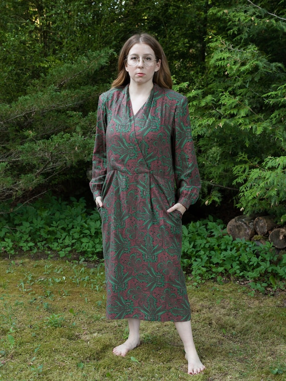 vintage gray and green paisley print faux wrap dre
