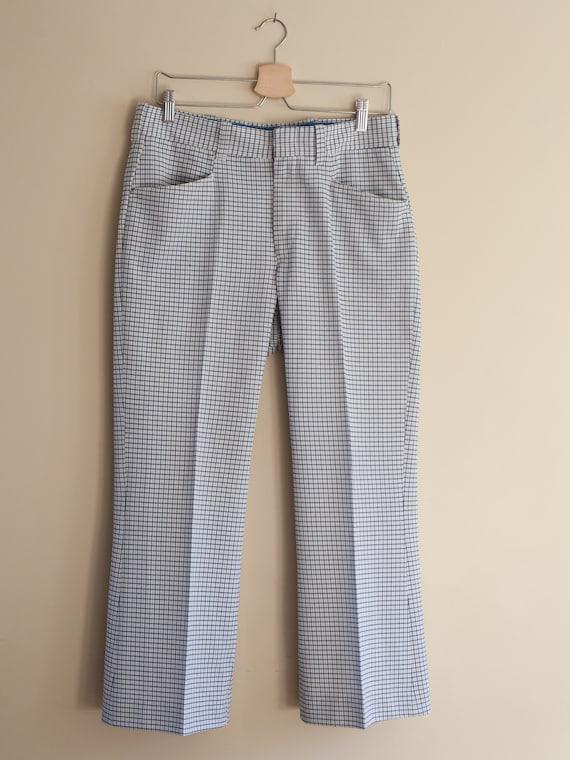 vintage 1970s light blue plaid pants, vintage men… - image 8