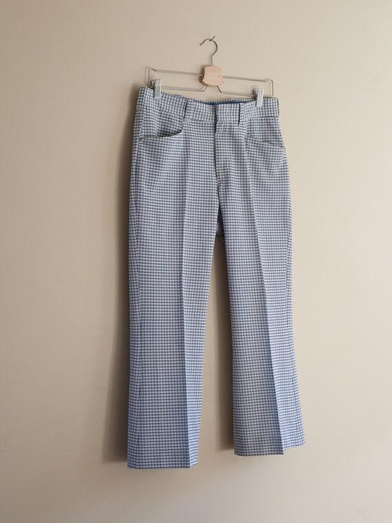 vintage 1970s light blue plaid pants, vintage men… - image 1