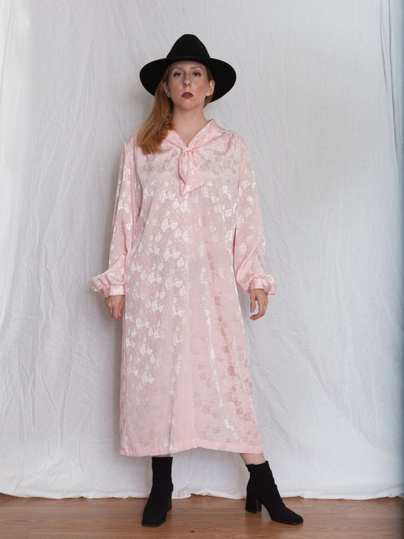 vintage plus size 60s pink dress, 1960s pussy bow