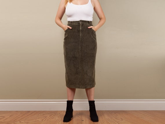 vintage green corduroy midi skirt, fitted 90s gree