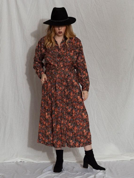 floral two piece set,vintage skirt set, 90s match… - image 10