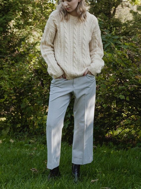 vintage 1970s light blue plaid pants, vintage men… - image 5