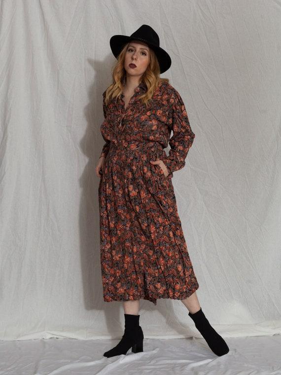 floral two piece set,vintage skirt set, 90s match… - image 4