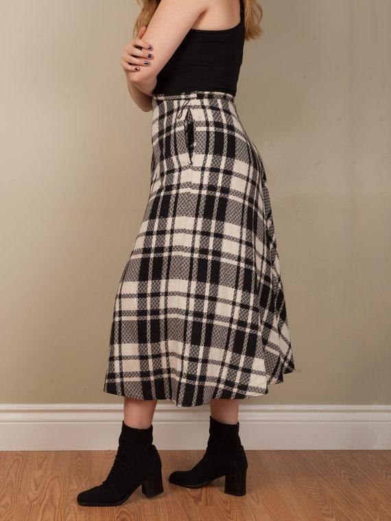 1990s full black and white plaid long skirt, vint… - image 9