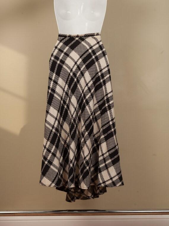 1990s full black and white plaid long skirt, vint… - image 4