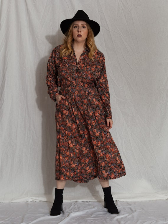 90s floral two piece skirt and long sleeve shirt s