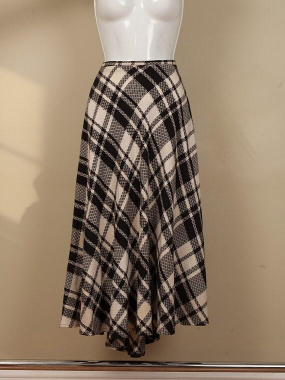1990s full black and white plaid long skirt, vint… - image 5