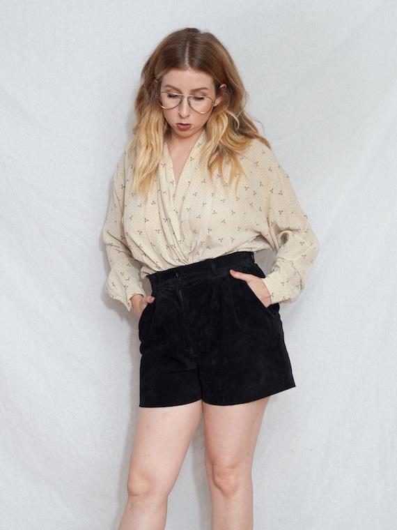 vintage black suede mom shorts, high waist paper b
