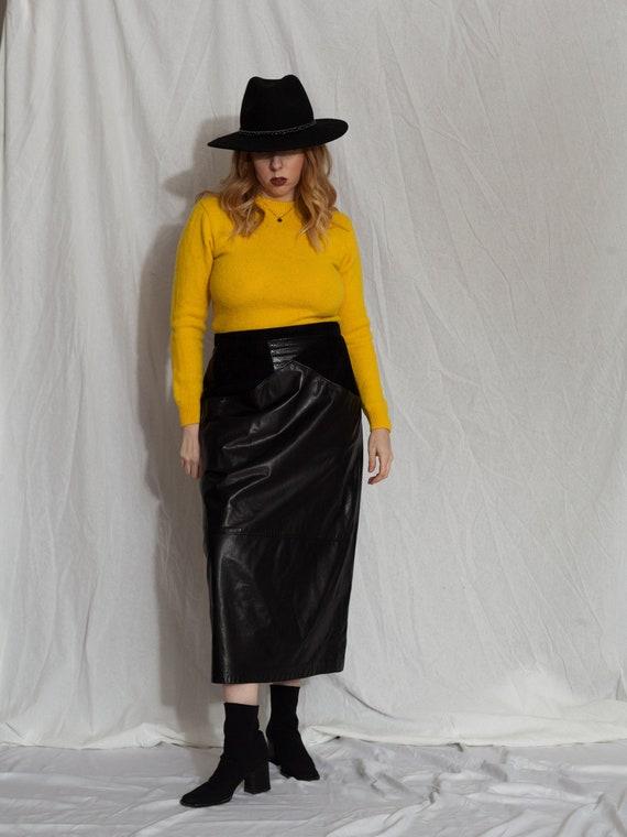 Vintage Leather Skirt, black Leather Skirt, Maxi L