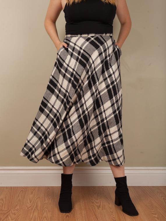 1990s full black and white plaid long skirt, vint… - image 6
