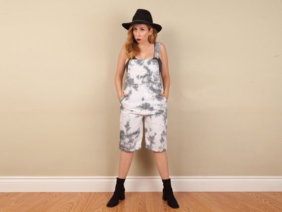 reworked 1990s blue tie dye overalls, vintage over