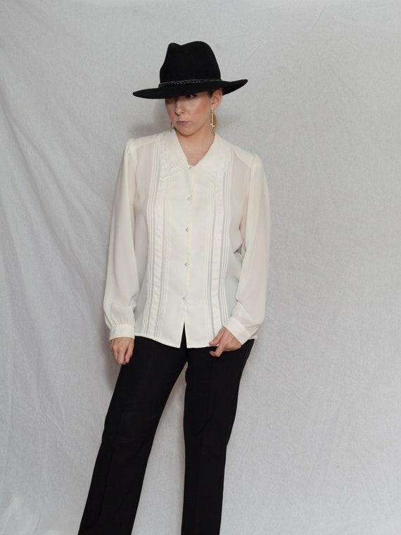 vintage white long sleeve poet blouse, 1980s semi
