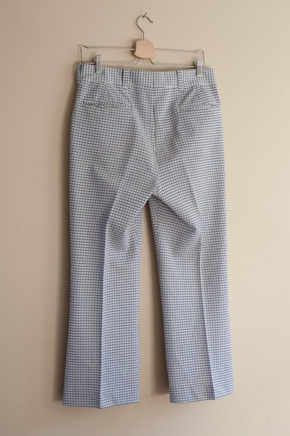 vintage 1970s light blue plaid pants, vintage men… - image 9