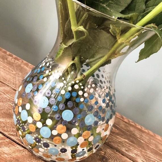 Hand Painted Mandala Style Glass Vase