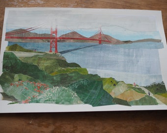 "Original art - ""Golden Gate"" - Hand-painted, hand-cut paper collage, landscape, illustration, one-of-a-kind"