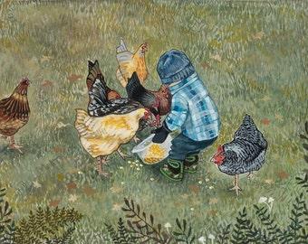 """Archival Art Print - """"Chicken Whisperer"""""""
