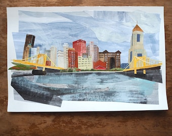 """Original art - """"City of Bridges   Pittsburgh, PA"""" - Hand-painted, hand-cut paper collage, landscape, illustration, one-of-a-kind"""