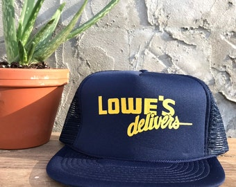 ec9ac7bace6 Vintage Lowe s Delivers Navy Blue Gold Double Snap Back Deadstock Unworn Hat  Cap One Size 1980 s 1990 s Snapback 80s 90s