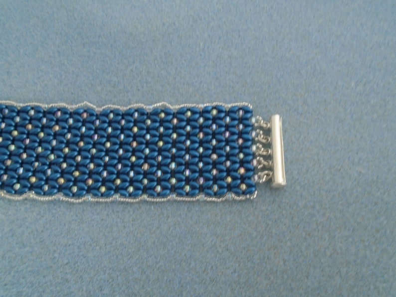 made with Super Duo Glass Beads Blue and Silver Cuff Bracelet Magnetic Clasp Silver Seed Beads