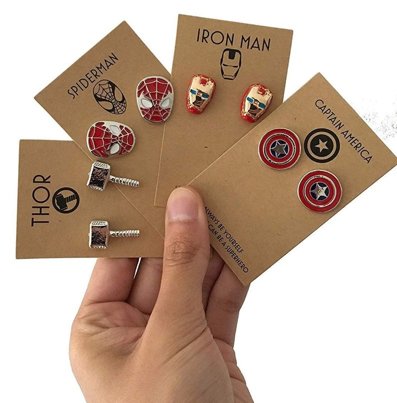 35 Amazing Marvel Gift Ideas featured by top US Disney blogger, Marcie and the Mouse: 4 Sets of Superhero Cufflinks with Kraft Gift Card and Box: image 0