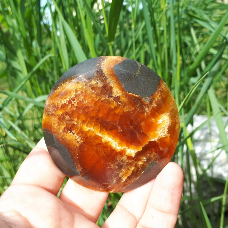 66 x 7 mm|Round Russian Septarian Cabochon|Septarian Nodule|Dragon Stone|Natural Stone|Handcrafted Designer Cabochon