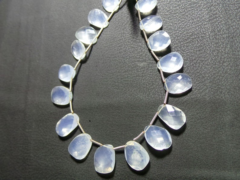 00037 79 Cts Natural  Ice Quartz Faceted  Beads  9 Inches Strand Awesome Quality