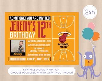 photograph regarding Miami Heat Printable Schedule identify Miami warm invite Etsy