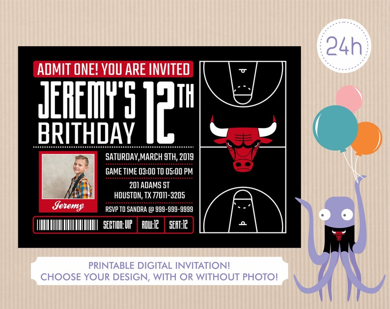 photograph relating to Bulls Schedule Printable referred to as Chicago Bulls Invitation, Birthday Invites, Bulls Social gathering Invitation, Printable Chicago Bulls Invite, Boy or girl Shower Invitations