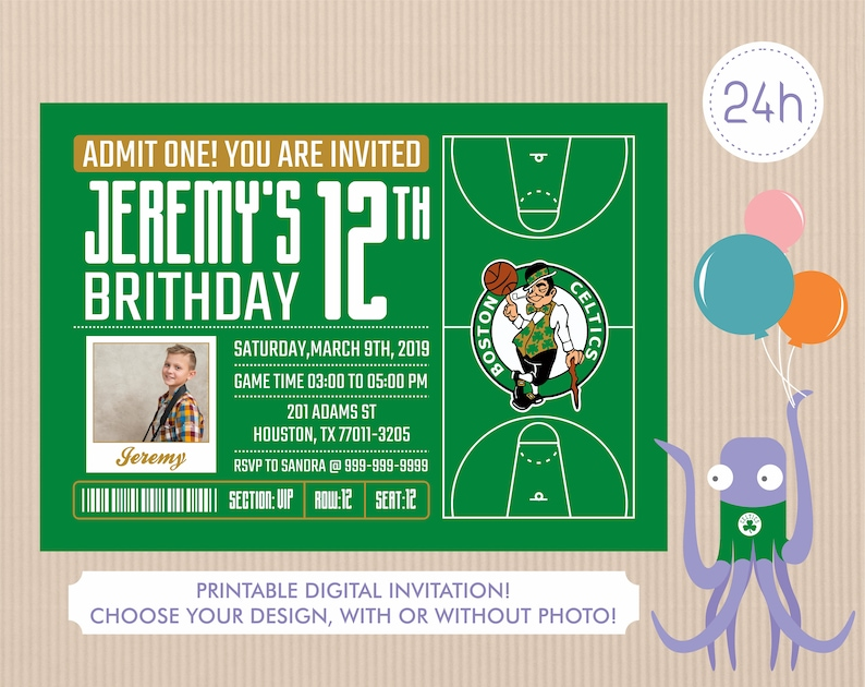 photograph about Boston Celtics Printable Schedule referred to as Boston Celtics Invitation, Birthday Invites, Celtics Occasion Invitation, Printable Boston Celtics Invite, Boy or girl Shower Invitations