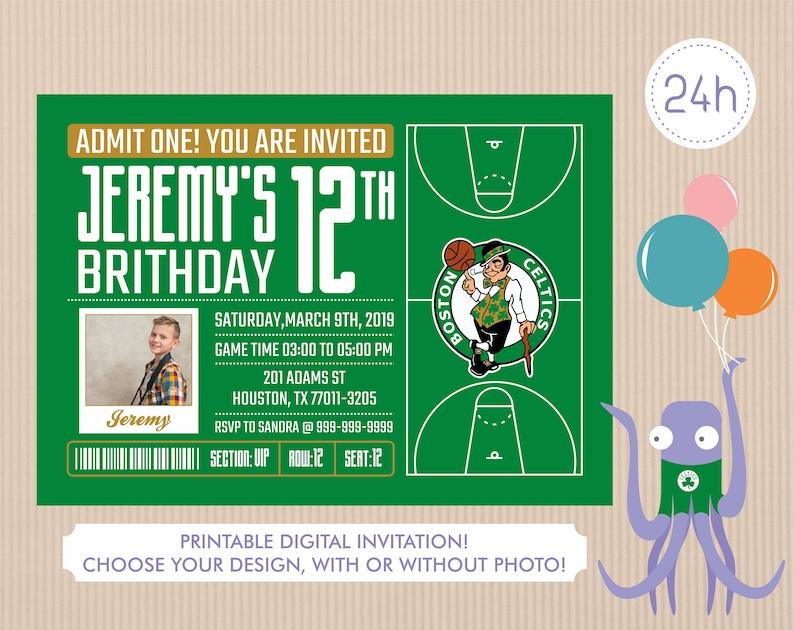 picture regarding Boston Celtics Printable Schedule identified as Boston Celtics Invitation, Birthday Invites, Celtics Social gathering Invitation, Printable Boston Celtics Invite, Youngster Shower Invitations
