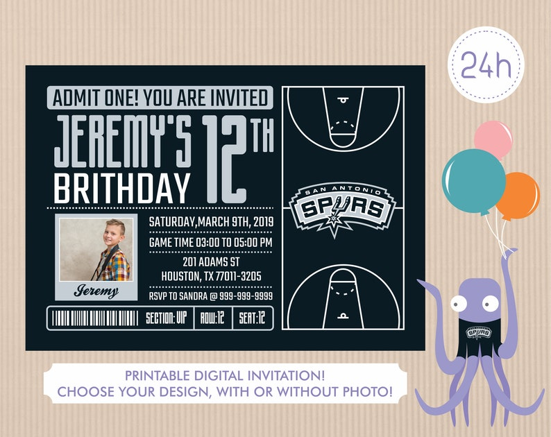 photograph about Spurs Schedule Printable known as San Antonio Spurs Invitation, Birthday Invites, Spurs Get together Invitation, Printable San Antonio Spurs Invite, Boy or girl Shower Invitations
