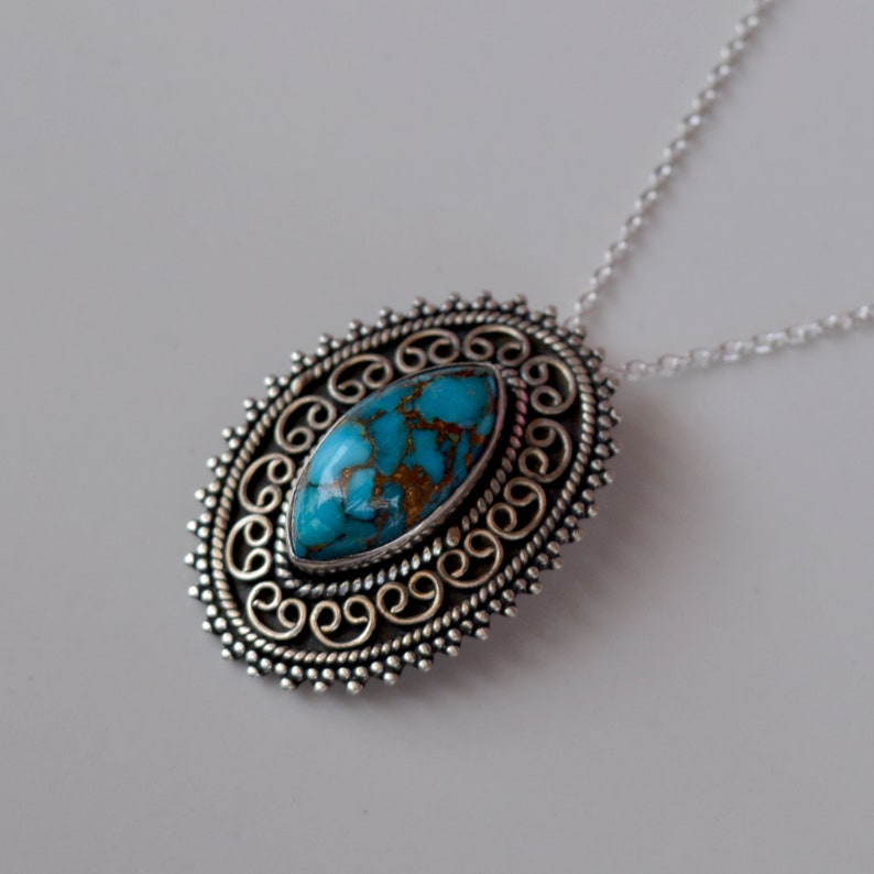 Happy Mother\u2019s Day Antique Style Handmade Natural Blue Cooper Turquoise 925 Starling Silver Necklace Amazing Genuine Necklace Jewelry