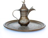 Vintage, Brass, Coffee Pot, Tray, Israel, Home Decor, Gift, Vintage coffee set, coffee decor, brass tray, patina, coffee, Israel Art