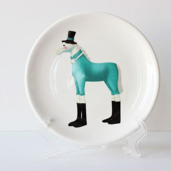 Ceramic Horse Plate Christmas Children S Design Cake Etsy