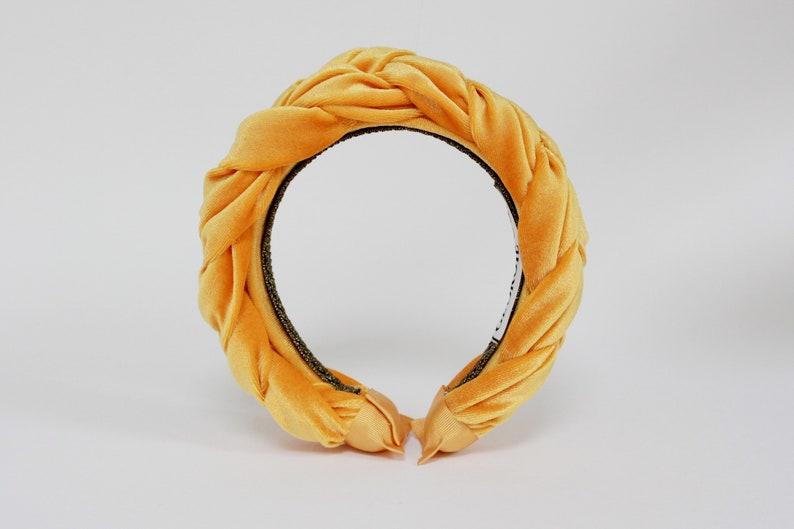 Yellow Gold Velvet Headband Gold Braided Headband Ladies image 3