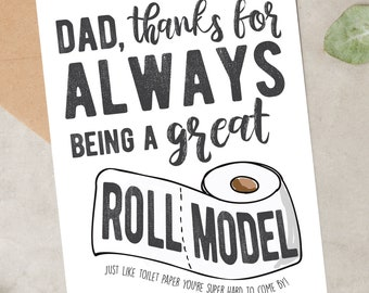 Father's Day Roll Model Card   Funny Toilet Paper Father's Day    Printable Instant Download