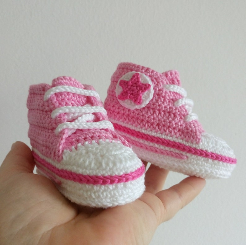 Baby Girl Pink Shoes Crochet Crib Shoes