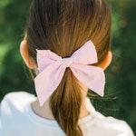 Large Ballet Pink Swiss Dot Sailor Bow