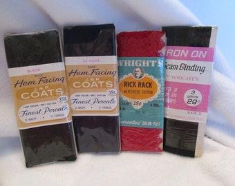 1960s-80s ~ Vintage Brands J.N P COATS /& WRIGHTS ~ Seam Binding~ Stretch Lace ~ 4 pkgs set