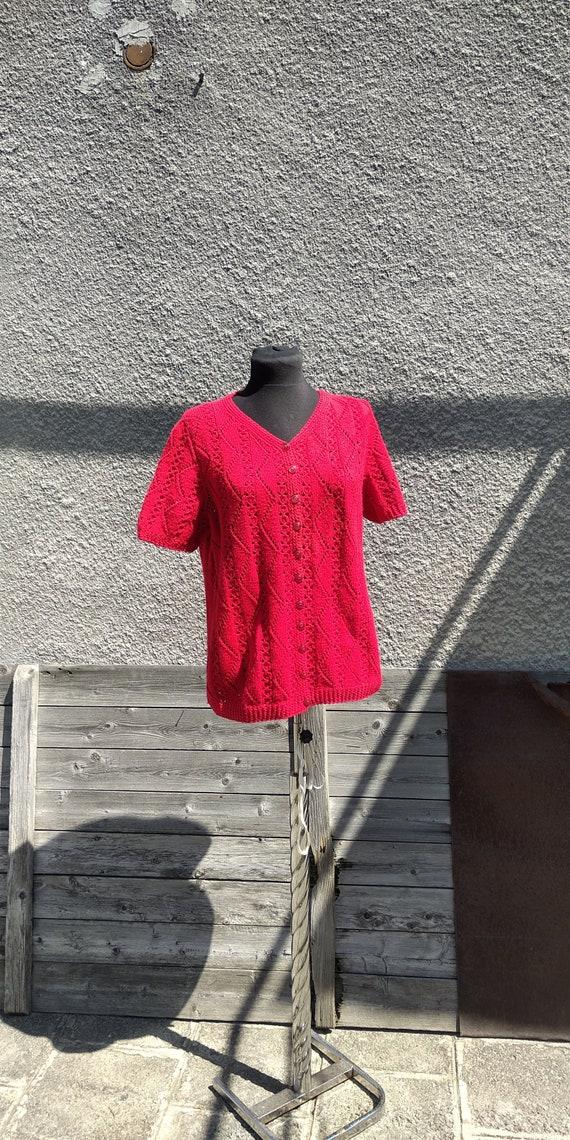medium bohemian lace party crochet hippie 70s 60s Hand knitted vintage blouse festival boho