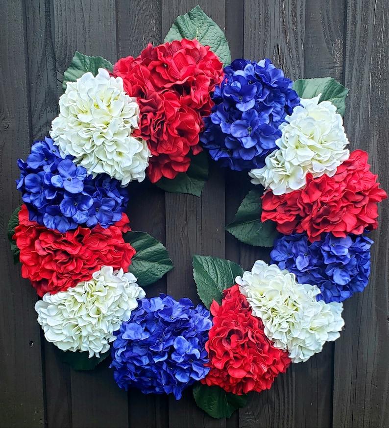 USA Wreath Summer Floral Wreath Americana Wreath 4th of July Hydrangea Wreath