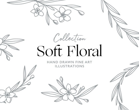 Hand Drawn Fine Art Graphic Images Soft Floral Leaves Etsy