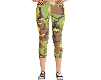 5ad7ccd421b10 Camo Capri Leggings -Yoga Pants - Workout Clothes - Hot Yoga - Fitness -  Camouflage - Capri Leggings