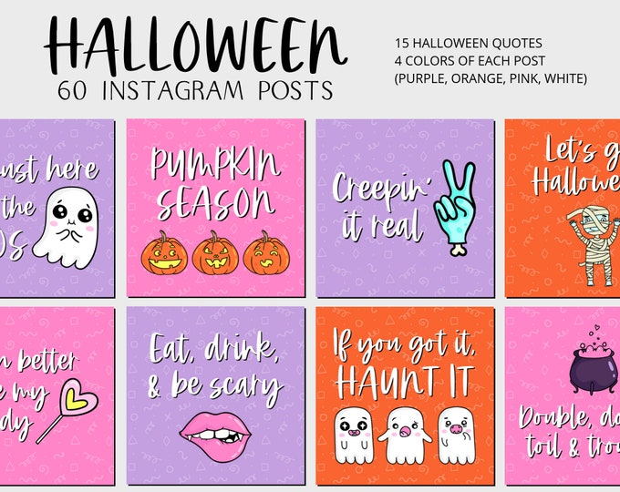 Featured listing image: Halloween Instagram Quote Posts - 60 Fall .pngs for IG, Social Media, Facebook