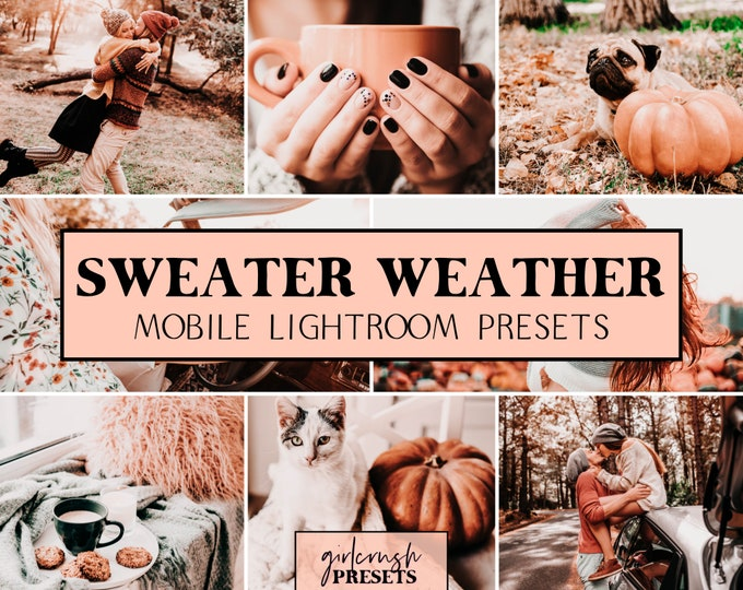 Featured listing image: Mobile Lightroom Presets - SWEATER WEATHER Lightroom Mobile Presets Photo Editing for Bloggers & Influencers (Fall Collection)