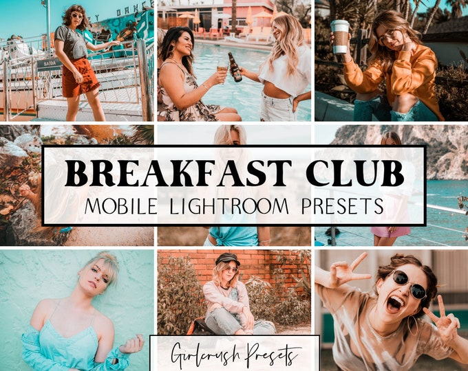 Featured listing image: Mobile Lightroom Presets - BREAKFAST CLUB Lightroom Mobile Presets Photo Editing for Bloggers & Influencers (Rom-Com Collection)